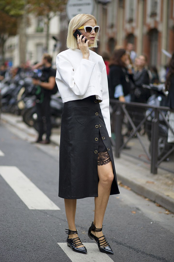 Masculine/feminine contrast in layered skirt
