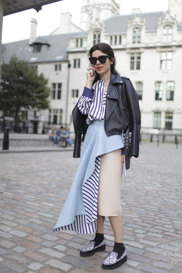 Striped layered pencil skirt