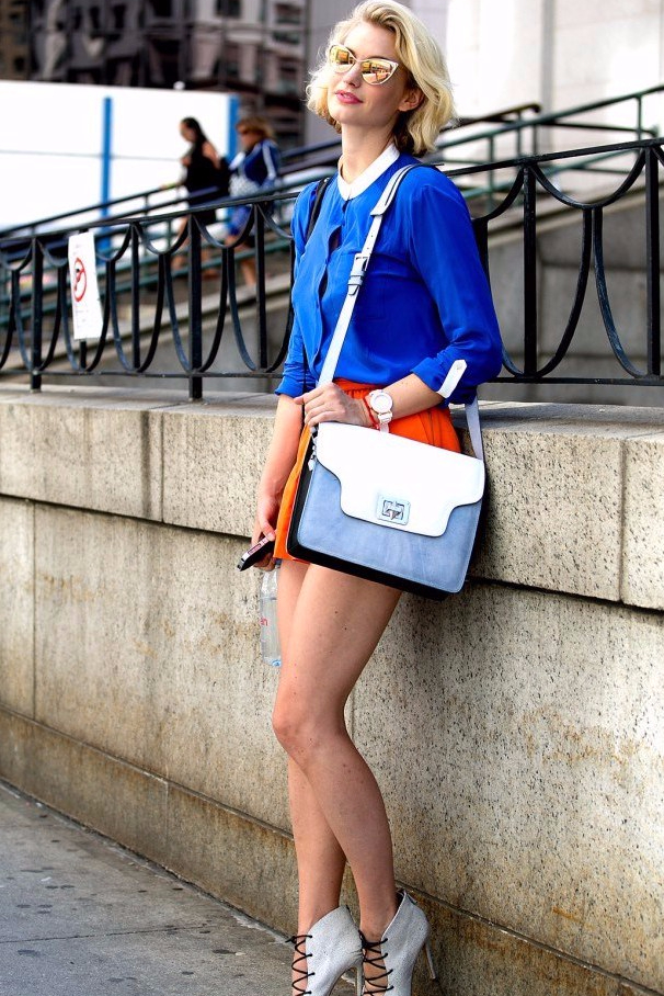 2.-orange-shorts-with-blue-top-and-lace-up-sandals