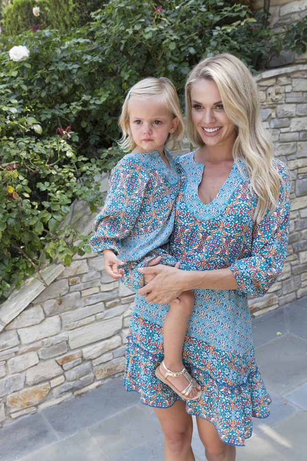 Tolani x Nicky Hilton - Mummy and Me photo shoot- Model and child in printed designs from collaboration​.