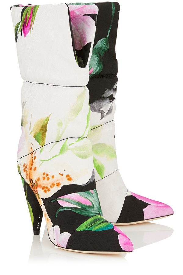 Off-White x Jimmy Choo - Sara Boot - padded boot with floral print.