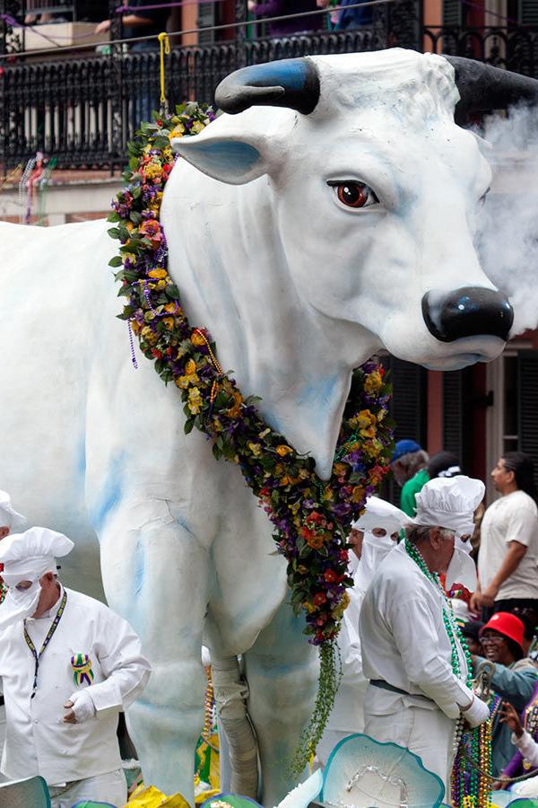 Float representing sacred bull at Mardi Gras Parade.