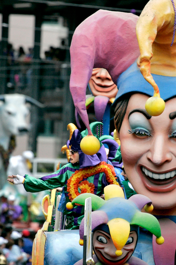 Zulu crew float at Mardi Gras Carnival New Orleans. Jester theme design.