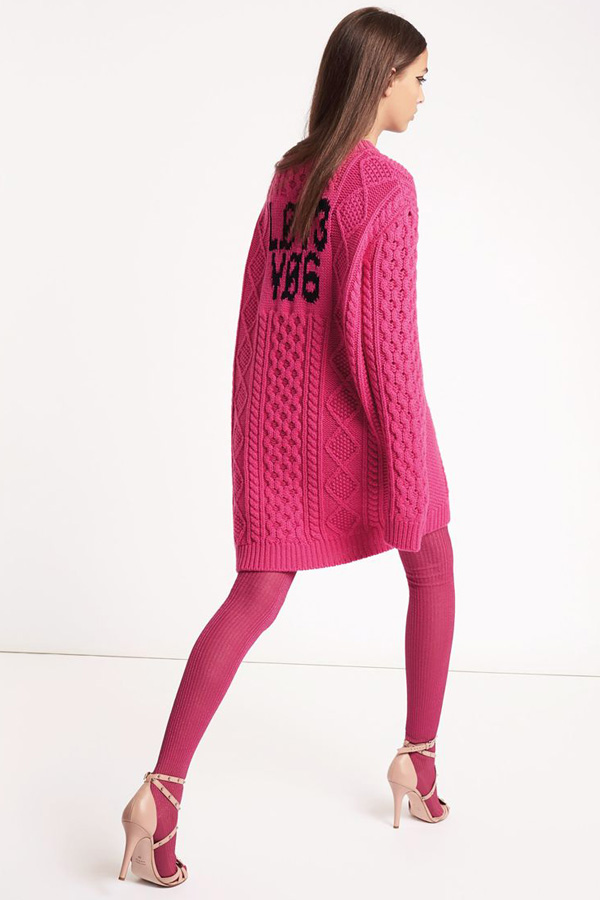 Red Valentino A/w 2018 collection look-book. Hot pink cable knit jumper dress over textured tights. Pink heels accessories the outfit.